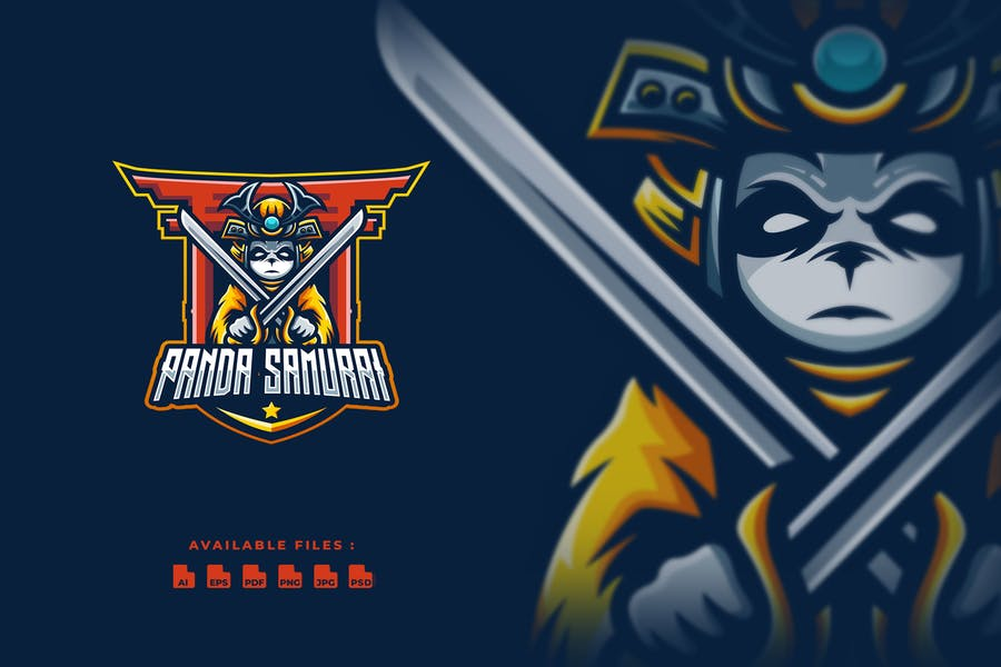 Panda Samurai Logo and Esport Logo