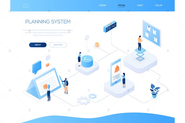 Cover Image For Planning system - modern isometric web banner