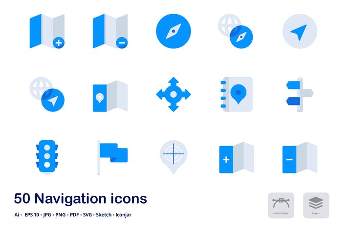 Cover Image For Navigation Accent Duo Tone Flat Icons