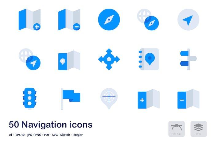 Thumbnail for Íconos planos de Tono dúo de navegación