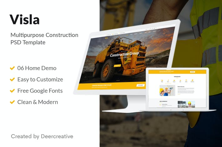 Thumbnail for Visla   Multipurpose Construction PSD Template