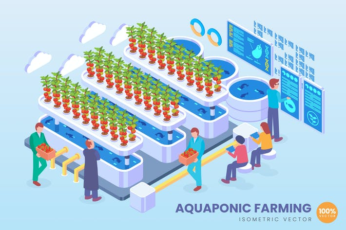Thumbnail for Isometric Aquaponic Farming Technology Vector
