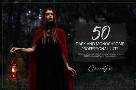 50 Dark and Monochrome LUTs and Presets Pack