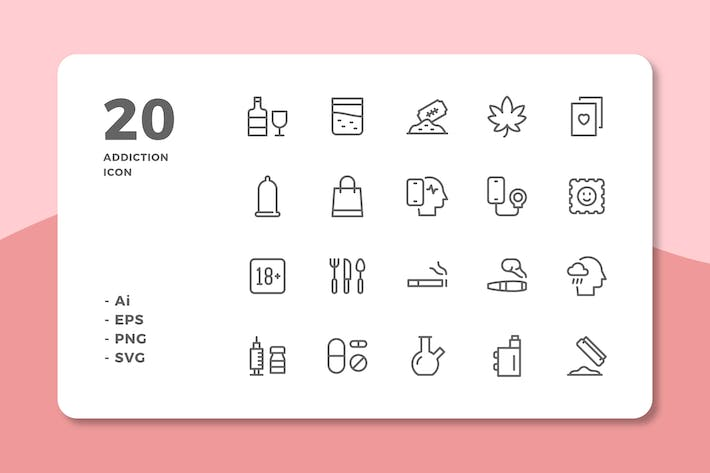 Thumbnail for 20 Addiction Icons (Line)