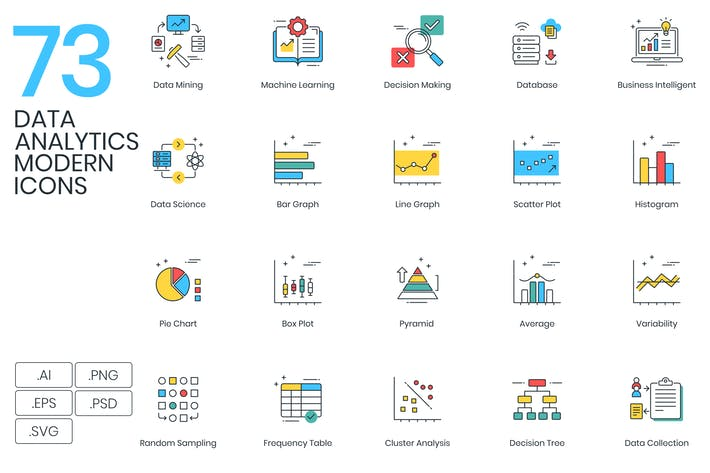 Thumbnail for Data Analytics Modern Icons