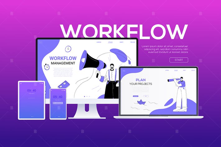 Thumbnail for Workflow - flat design style colorful web banner