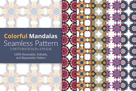 Buntes Mandalas Nahtloses Muster