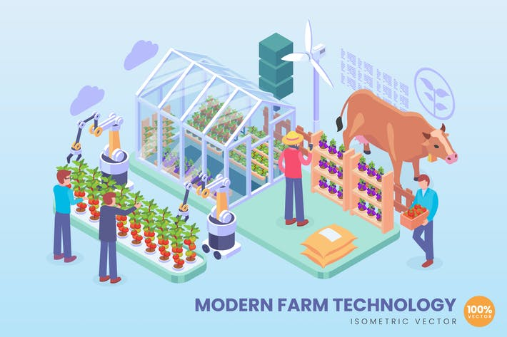 Cover Image For Isometric Modern Farm Technology Concept