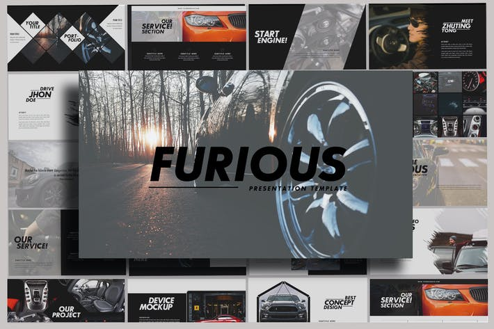 Thumbnail for Furious - Sport Powerpoint Dark Template