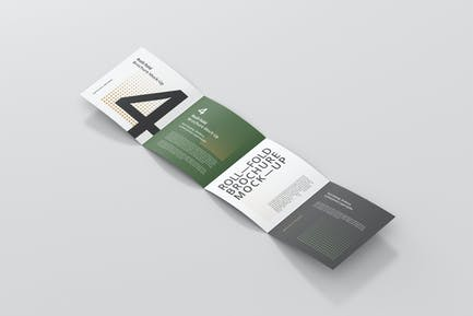 Roll-Fold Brochure Mockup - Square Format