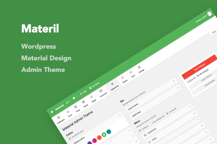 Thumbnail for Materil - WordPress Material Design Admin Theme