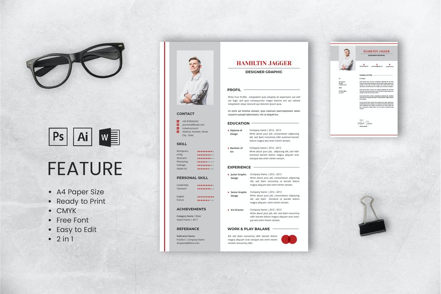 Professional CV And Resume Template Jagger