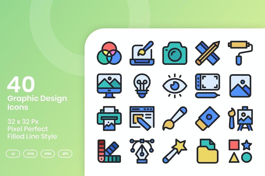 40 Graphic Design Icons Set - Filled Line