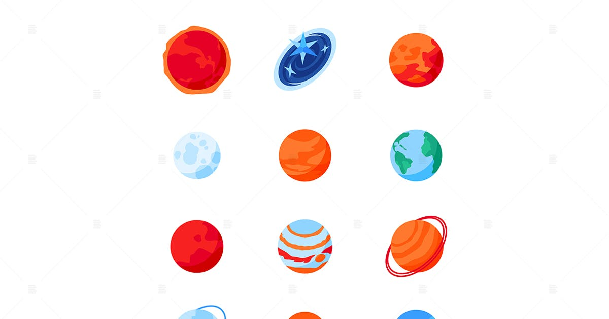 Download Solar System Planets - modern isometric icon set by BoykoPictures