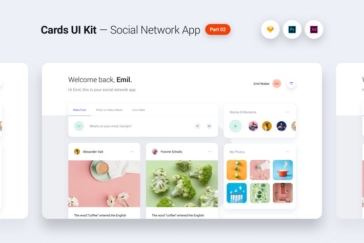 Thumbnail for Cards UI Kit - Social Network App Concept