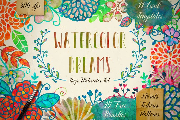 Thumbnail for Watercolor Kit + Free Brushes