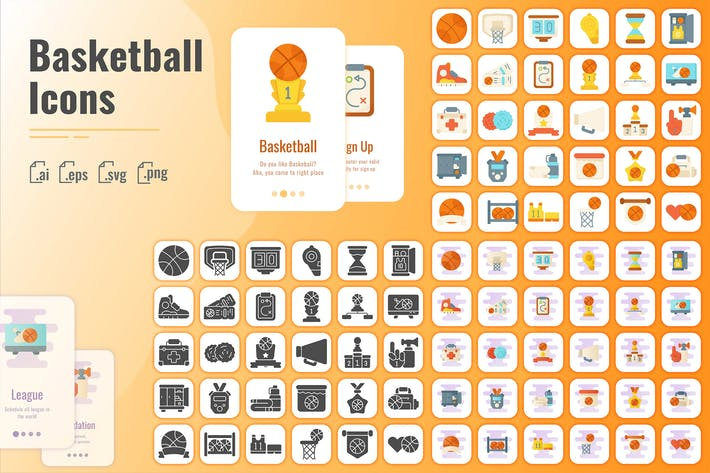 Thumbnail for 30 Solid Iconset Basketball with 3 Styles Variant
