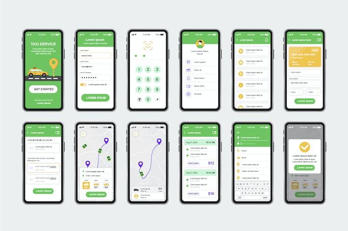 Thumbnail for GUI Layout Taxi Service Unique Mobile App UI Kit