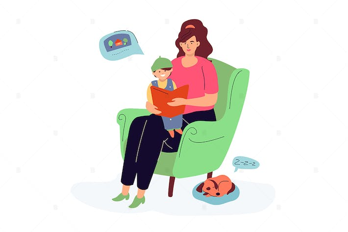 Thumbnail for Mother reading a book to her son - illustration