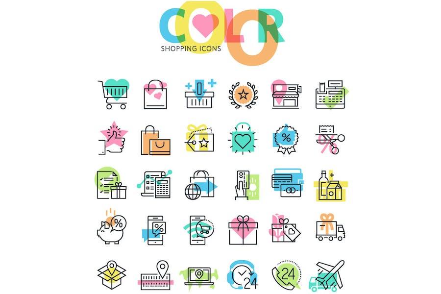 Conjunto de iconos de compras