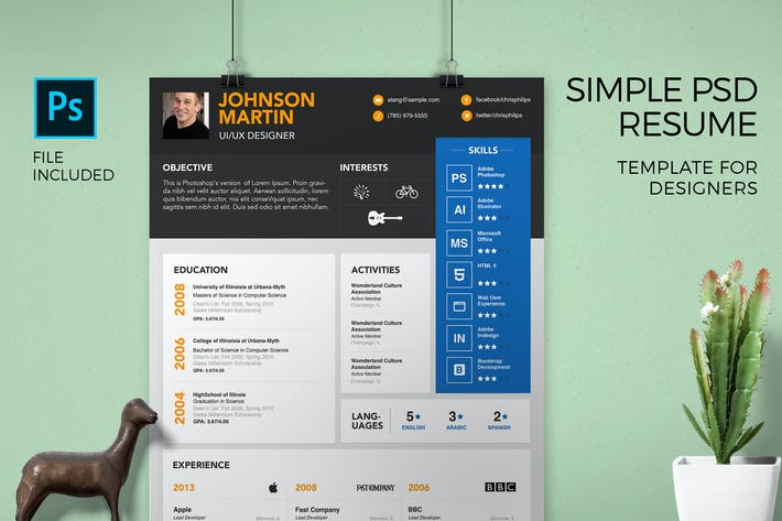 Thumbnail for Simple Resume Template & Cover Letter