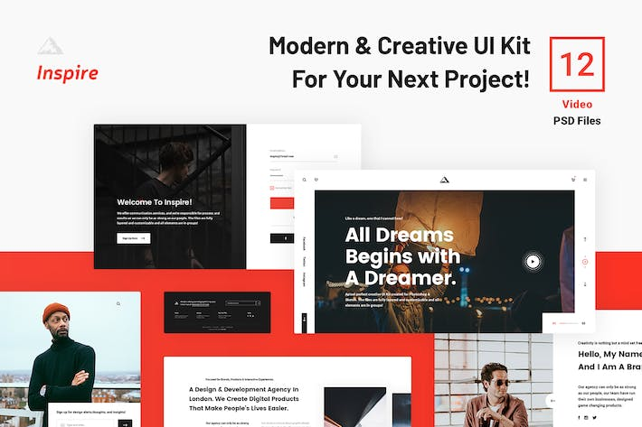 Thumbnail for inspire UI Kit - Video PSD Web Sections