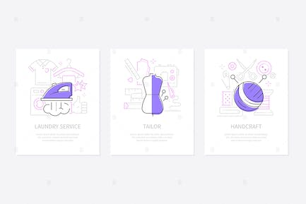Clothing and services - line design style banners