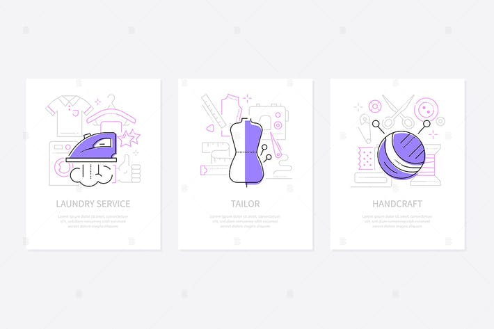 Thumbnail for Clothing and services - line design style banners