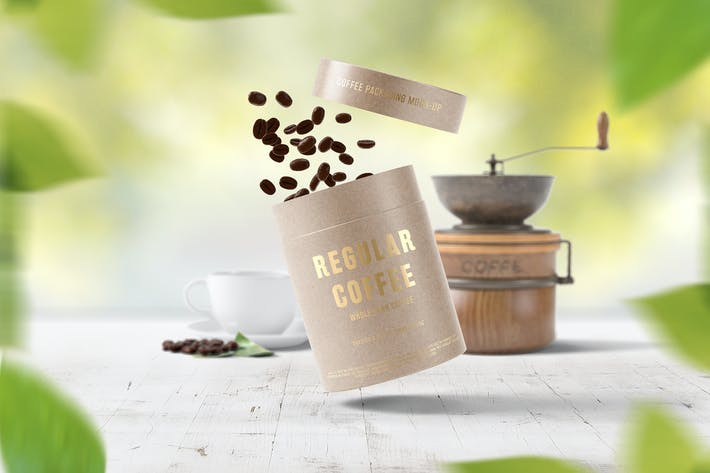 Thumbnail for Paper Tube Coffee Packaging Mock-Up Set 2