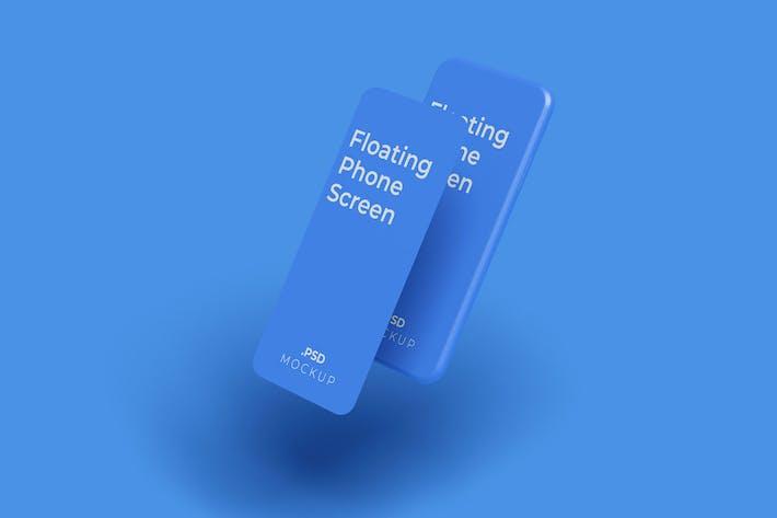 Schwebendes Telefonbildschirm-Mockup