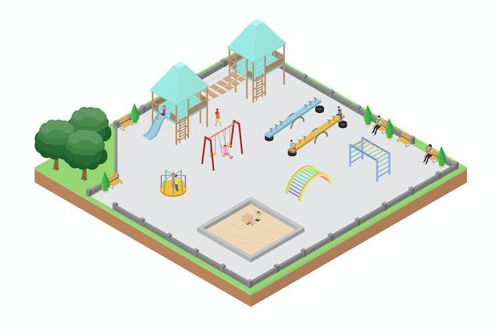 Thumbnail for Isometrische Illustration des Spielplatzes