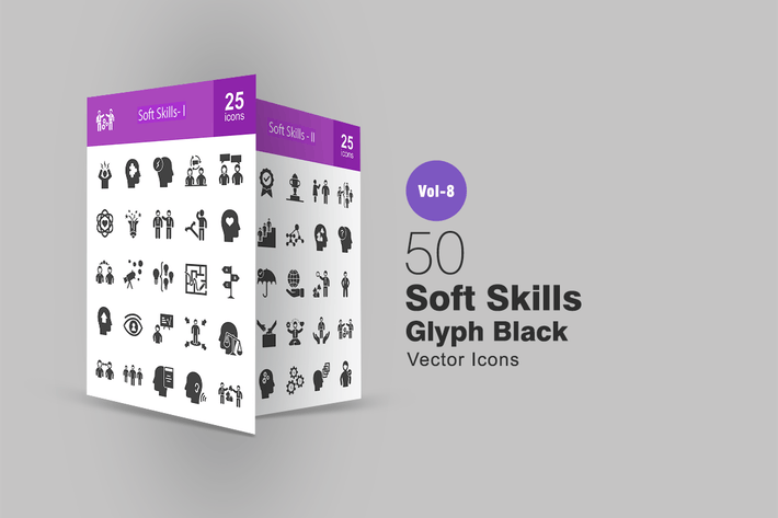 Thumbnail for 50 Soft Skills Glyph Icons