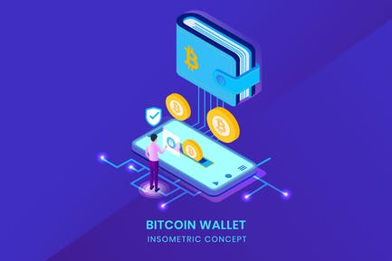 Bitcoin Wallet - Insometric Vector