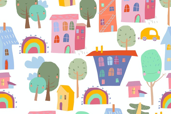 Seamless Pattern with colorful Houses