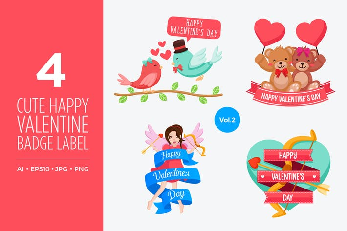 Thumbnail for Cute Happy Valentine Vector Illustration Set Vol.2