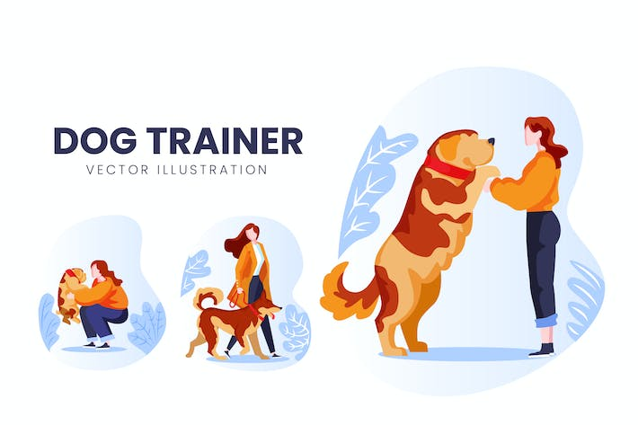 Thumbnail for Dog Trainer Vector Character Set
