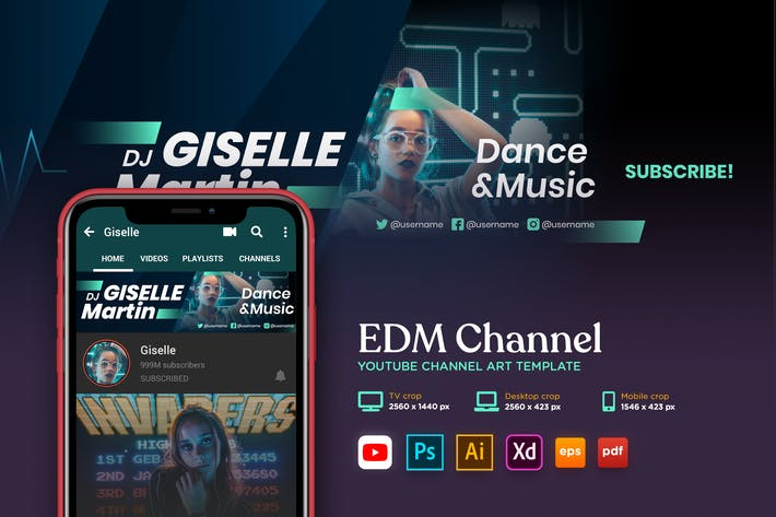 Thumbnail for Youtube Cover Art Vol.08 Electronic Dance Music