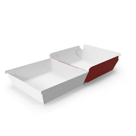 Burger Box открыт полностью красный и белый