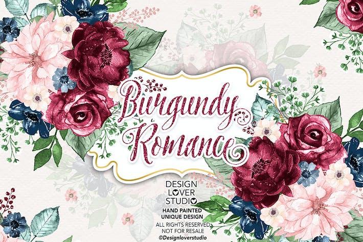 Burgunderrotes Romantik-Design