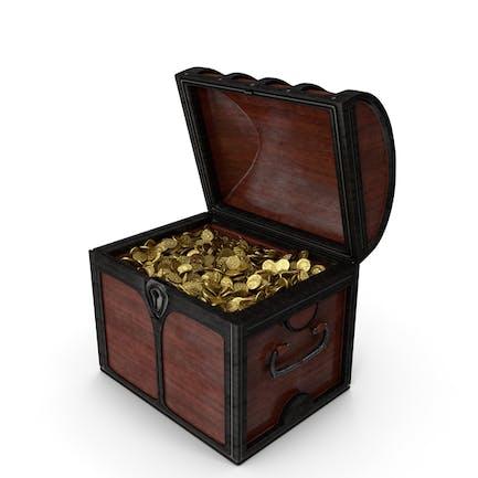 Pequeño cofre de madera con monedas de oro