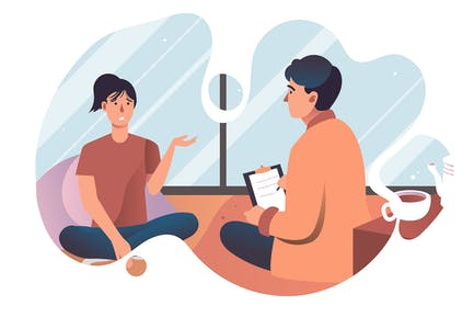 Mental Health Consulting - Flat Illustration