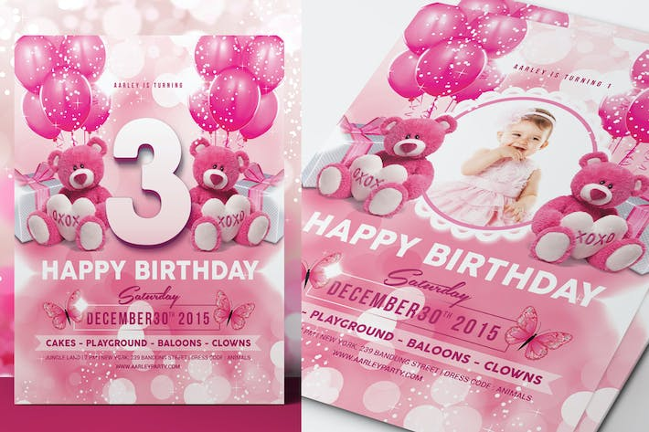 Cover Image For Pink Kids Birthday Invitation