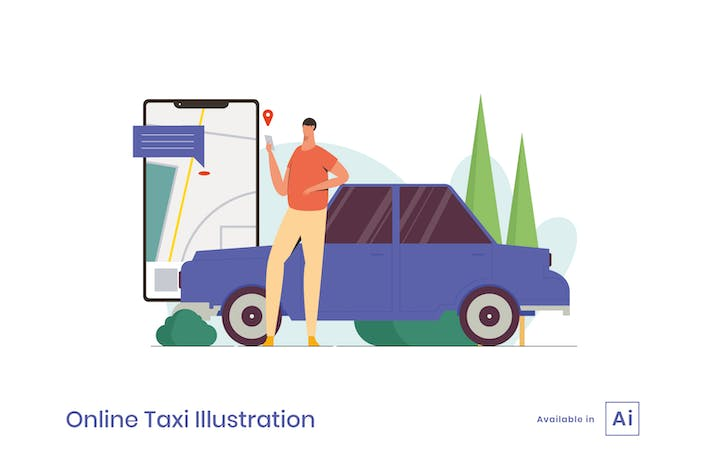 Thumbnail for Online Taxi Illustration