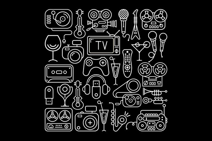 Thumbnail for Entertainment Icons Lineart on a black background
