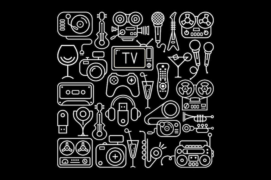 Entertainment Icons Lineart on a black background
