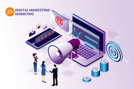 Ilustración Vector de marketing digital isométrico