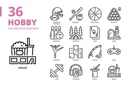 Hobby Outline Style Icon Set