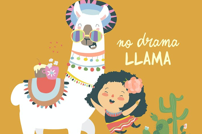 Thumbnail for Funny llama alpaka with cute mexican girl. No Dram