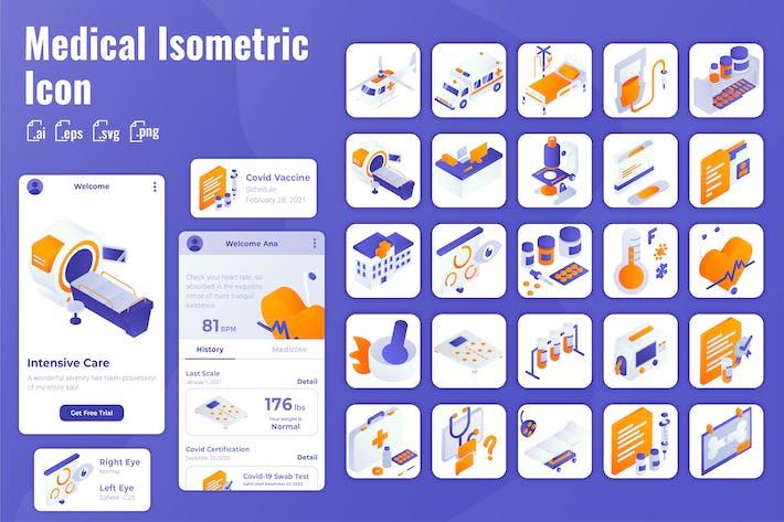 25 Iconset Isometrisch für Medizin und Gesundheitswesen