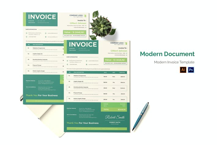 Thumbnail for Modern Document Invoice
